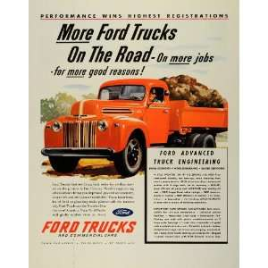 1945 Ad Ford Motor Co Trucks Commercial Cars Cargo Heavy Motor