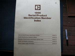 CAT Caterpillar Serial Number Model Index Book Manual 1986 guide