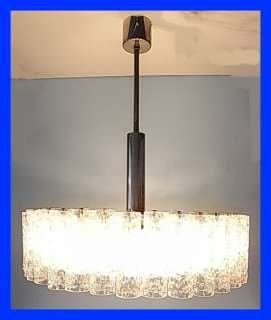 CENTURY GLASS TUBE 6 LIGHT CEILING LAMP DE MAJO VINTAGE GERMAN