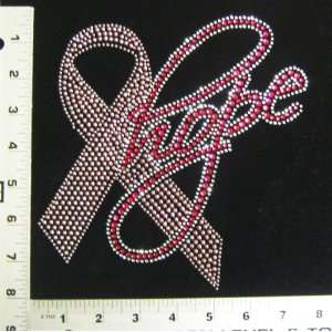 Rhinestone Iron On Transfer Breast Cancer Hope Ribbon Design