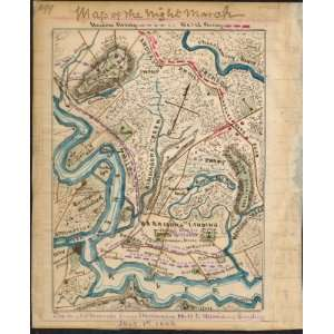 Civil War Map Map of the night march from Malvern Hill to