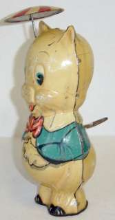 Antique Marx Toy Tin Wind Up Porky Pig w/ Umbrella 1939
