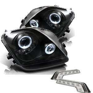 Carpart4u Honda Prelude Halo Black Projector Headlights and LED Day