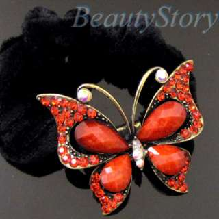 SHIPPING rhinestone crystals butterfly hair scrunchie ponytail