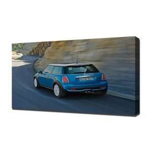 Mini Cooper blue   Canvas Art   Framed Size 16x24   Ready To Hang