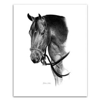 QUARTER HORSE ART western bosal pencil portrait GORGEOUS artist signed