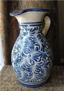 Antique SPANISH FAIENCE MAJOLICA PITCHER Blue Leaves Vintage Glazed