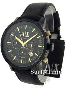New Armani Exchange Mens Black Leather Strap Gold Chronograph Watch