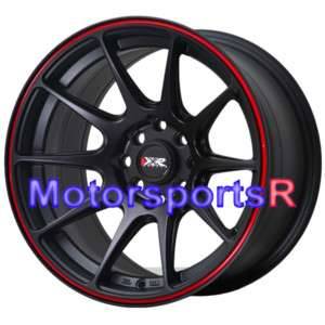527 Black Red Stripe Concave Rims Wheels Stance 89 94 Nissan 240sx S13
