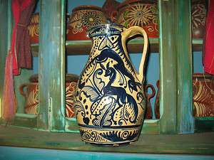 BEAUTIFUL RARE MEXICAN FOLK ART FANTASIA POTTERY PITCHER ANTIQUE BLUE