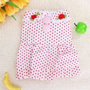 Pet Dog White Dress Skirt Apparel Clothes w/ Red Dots Pet