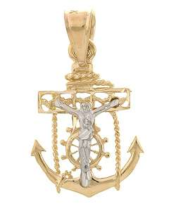 14k Two tone Gold Mini Mariners Cross Pendant