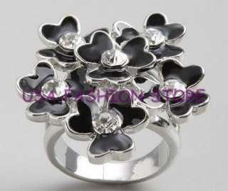 GUESS BLACK FLOWER SILVER FASHION RING CRYSTALS SIZE 7