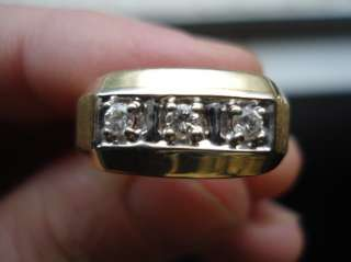 MENS GOLD DIAMOND RING 0.25CT VVS2 G 3 STONE 6 GRAMS 14K SOLID GOLD