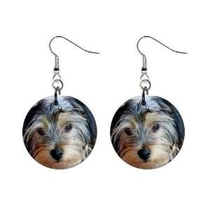 Yorkshire Terrier Puppy Dog 3 Button Earrings A0654