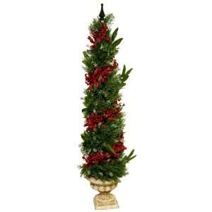 Good Tidings Chelsea Cedar Christmas Topiary 4 Feet Tall with an Urn