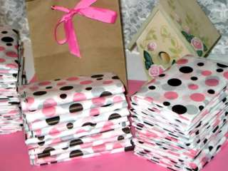 5ct NEOPOLITAN Tissue Paper Brown Pink White Polka Dot