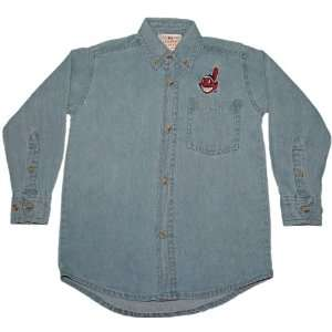 Light Blue Denim MLB Cleveland Indians Button up Long sleeve shirt