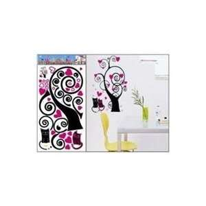 Large Cats with Heart Tree Wall Stickers Decals