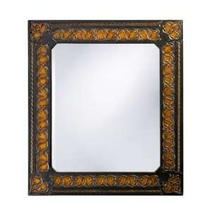 Rectangular Black with Copper Relief Accents Mirror