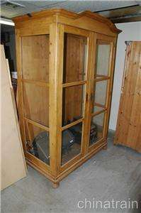 Antique Colonial Knotty Pine 2 Glass Door & Sides Display Cabinet