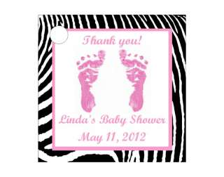Girl Pink Zebra Baby Shower Favors Gift Tags Square