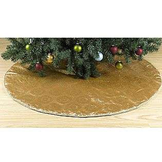 Vintage Christmas 52in Tree Skirt   Gold Satin / Gold Glitter Oversize