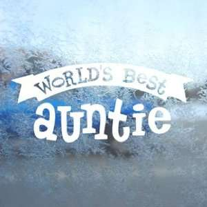 Worlds Best Auntie White Decal Car Window Laptop White