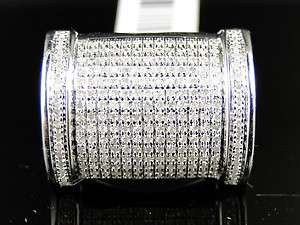 MENS WHITE GOLD FINISH ROUND CUT DIAMOND XL PINKY FASHION BAND RING