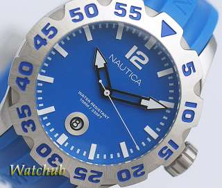 NEW 2012 NAUTICA MEN BLUE STRAP BFD 100 X LARGE FACE WATERPRO 330FT