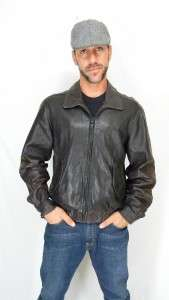 MEMBERS ONLY Soft Lambskin LEATHER Flight BOMBER JACKET Sz L
