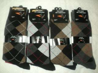 12 PAIRS MENS PICOPI ARGYLE DRESS SOCKS 10 13 J2811