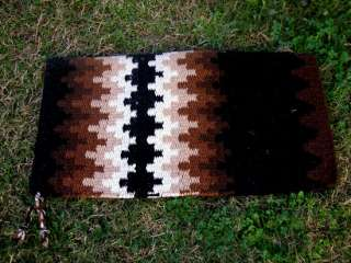 WOOL WESTERN SHOW TRAIL HORSE SADDLE BLANKET PAD BLACK BROWN TACK