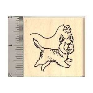 Cute Terrier Dog Chasing a Leaf Rubber Stamp   Wood