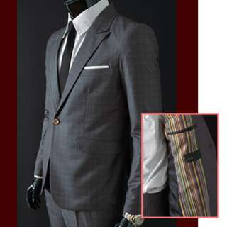 MENS NEW SLIMFIT 1 BUTTON CHECK SUITS GRAY   US 34 ~ 39R SIZE