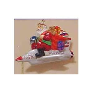 Air Force Santa in Jet Ornament