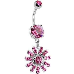 Pink Gem Gerber Daisy Belly Ring Jewelry