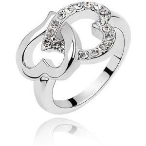 Locker White Gold Plated Swarovski Crystals Double Heart Ring Jewelry