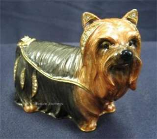 Bejeweled Yorkie   Yorkshire Terrier Dog Trinket Box