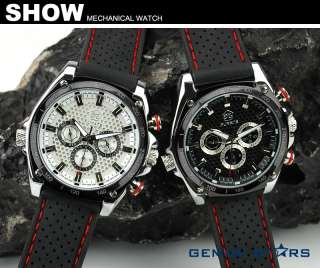 Accurate Date&Day Automatic Mechanical Rubber Outdoor Sport Men Watch