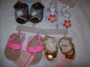GYMBOREE GIRLS AND BOY BABY SANDLES, FLIP FLOPS CRIB SHOES GOLD FLOWER