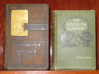 MARK TWAIN 1st Ed Lot LIFE ON THE MISSISSIPPI & THE AMERICAN CLAIMANT