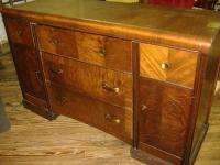 Walnut Waterfall Buffet Credenza Vintage Antique Art Deco Sideboard