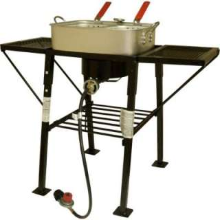 25 in. Rectangular Portable Propane Outdoor Cooker with Side Shelves