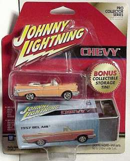 Johnny Lightning 1957 Chevy Convertible with metal box