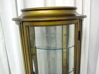 Vintage Round Glass Paneled Lighted Curio Cabinet w Glass Shelves Mint