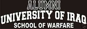 University of Iraq   school of warfare decal / sticker