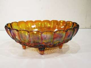 VTG IRIDESCENT CARNIVAL OVAL GLASS FRUIT BOWL DISH ART