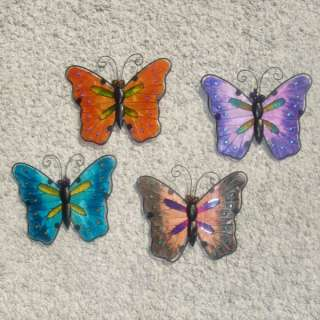 SET OF 4 METAL AND STAINED GLASS BUTTERFLY WALL HANGING