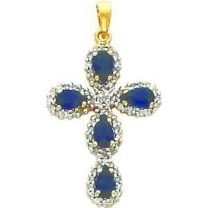 14 Karat Yellow Gold Genuine Diamond and Sapphire Cross Charm Jewelry